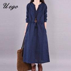 Uego Long Sleeve Autumn Dress V-neck Solid Color Women Dress Cotton Linen Vintage Dress Plus Size Women Spring Casual Midi Dress