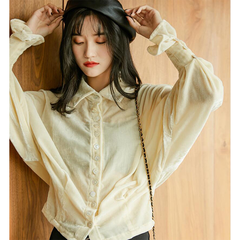 Women Top New Niche Design Shirt Female Long Sleeves Thin Velvet Shirt Casual Personality Wild Cardigan Coat Blouse Femme 2019 in Blouses amp Shirts from Women 39 s Clothing