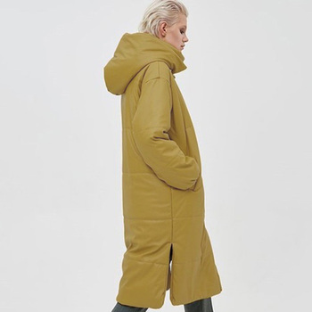 Novalya Winter Casual Khaki Long Parkas Women Fashion PU Leather Coats Women Elegant Windproof Cotton