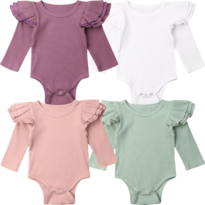 Newborn Baby Girl Bodysuits Winter Solid Ruffle Bodysuits Girl Long Sleeve Jumpsuit Bodysuit Outfit Knitted Baby Clothes