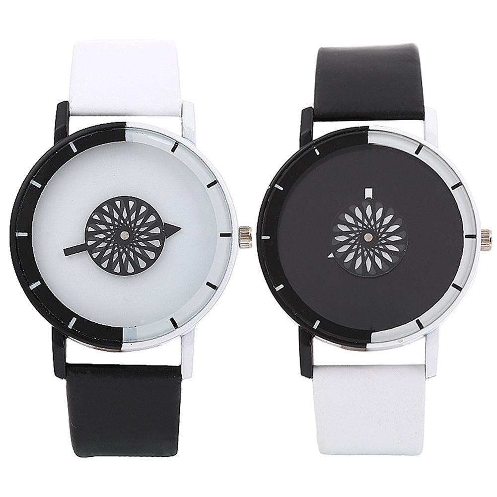 Fashion Simple Unique Minimalist Personality Black White No Number Faux Leather Band Couple Quartz Wrist Watch Erkek Kol Parejas