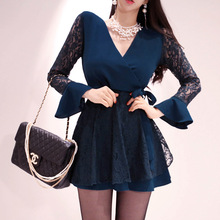 Korean Style Autumn Flare Sleeve Corset Solid Lace Dress Women Streetwear Vintage Dresses Fall Clothes A-Line Mini Ladies