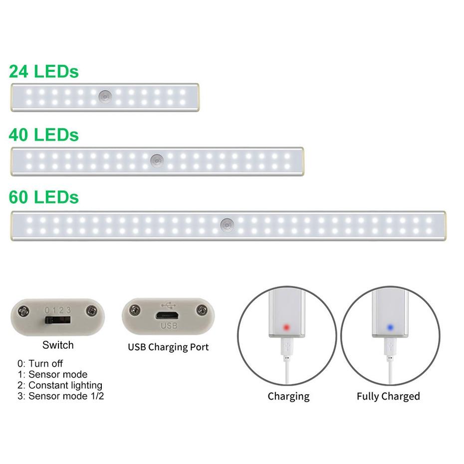 Image 2 - 24 40 60 LED Closet Light USB Rechargeable Under Cabinet Lightening Stick on Motion Sensor Wardrobe Light with Magnetic StripUnder Cabinet Lights   -