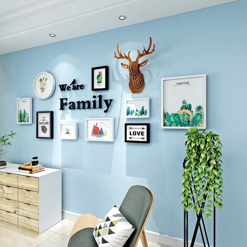 Scandinavian Frame Creative Photo Wall Photo Wall Living Room Elk Plant Wall Decoration Solid Wood Photo Frame Wall Combination