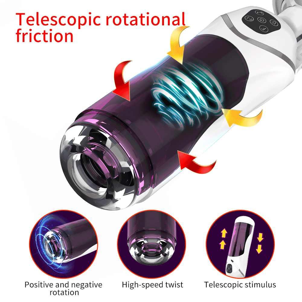 Volledige Automatische Zuiger Telescopische Rotatie Kunstkut Cup Adult Sex Toys Echte Vagina Zuigen Vibrator Handsfree Sex Machine