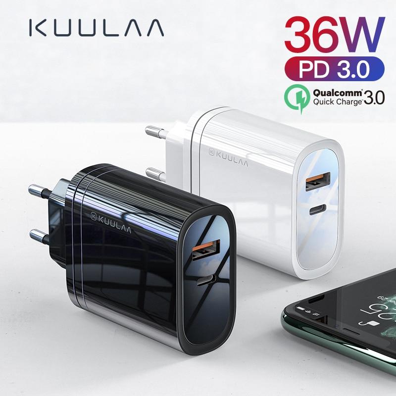 KUULAA 36W ładowarka USB szybkie ładowanie 4.0 PD 3.0 szybka ładowarka z nami adapter wtyczki eu doładowania dla iPhone 11 X XR XS 8 Xiao mi mi 9