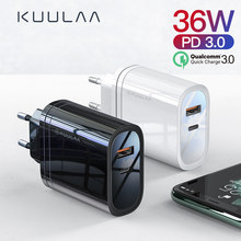 KUULAA Cargador Rapido 3.0 USB 36W QC3.0 EU Cargador Pared Enchufe Móvil para iPhone XR, XS, X, 8, Samsung Galaxy A70, S7, J6, Xiami Redmi Note 7, Note 6 Pro, Huawei P10 Lite(China)