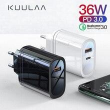 KUULAA 36W USB Charger Quick Charge 4.0 PD 3.0 Fast Charger US EU Plug