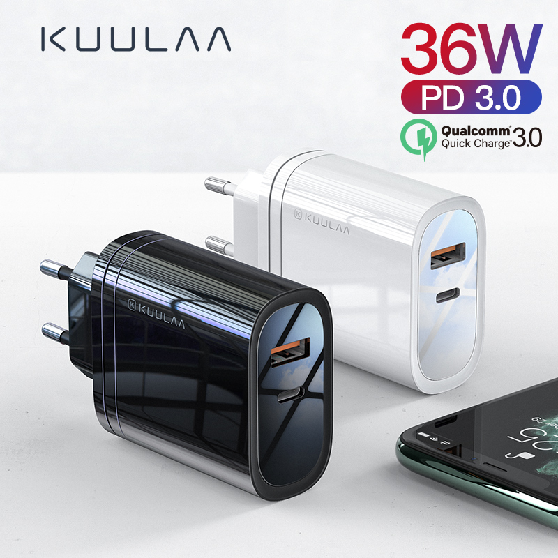 Kuulaa 36W Usb Charger Quick Charge 4.0 Pd 3.0 Fast Charger Us Eu Plug Adapter Supercharger Voor Iphone 11 X Xr Xs 8 Xiao Mi Mi 9