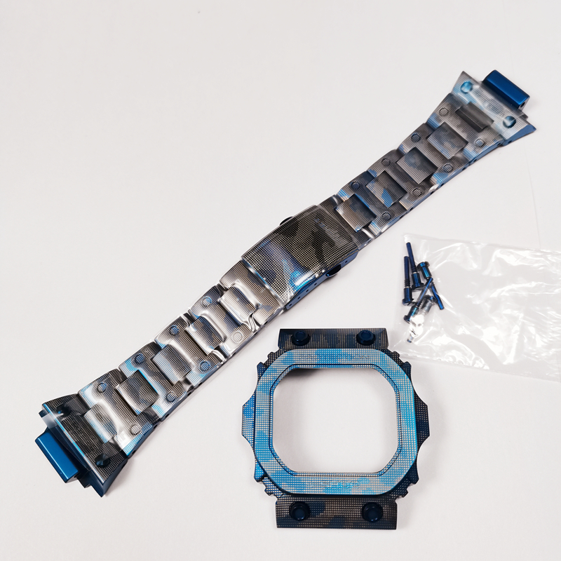 Updated GX56 Ice Blue Camouflage Watchbands and Bezel For GX56 GX56BB 316L Stainless Steel Watch Strap and Cover With Tools