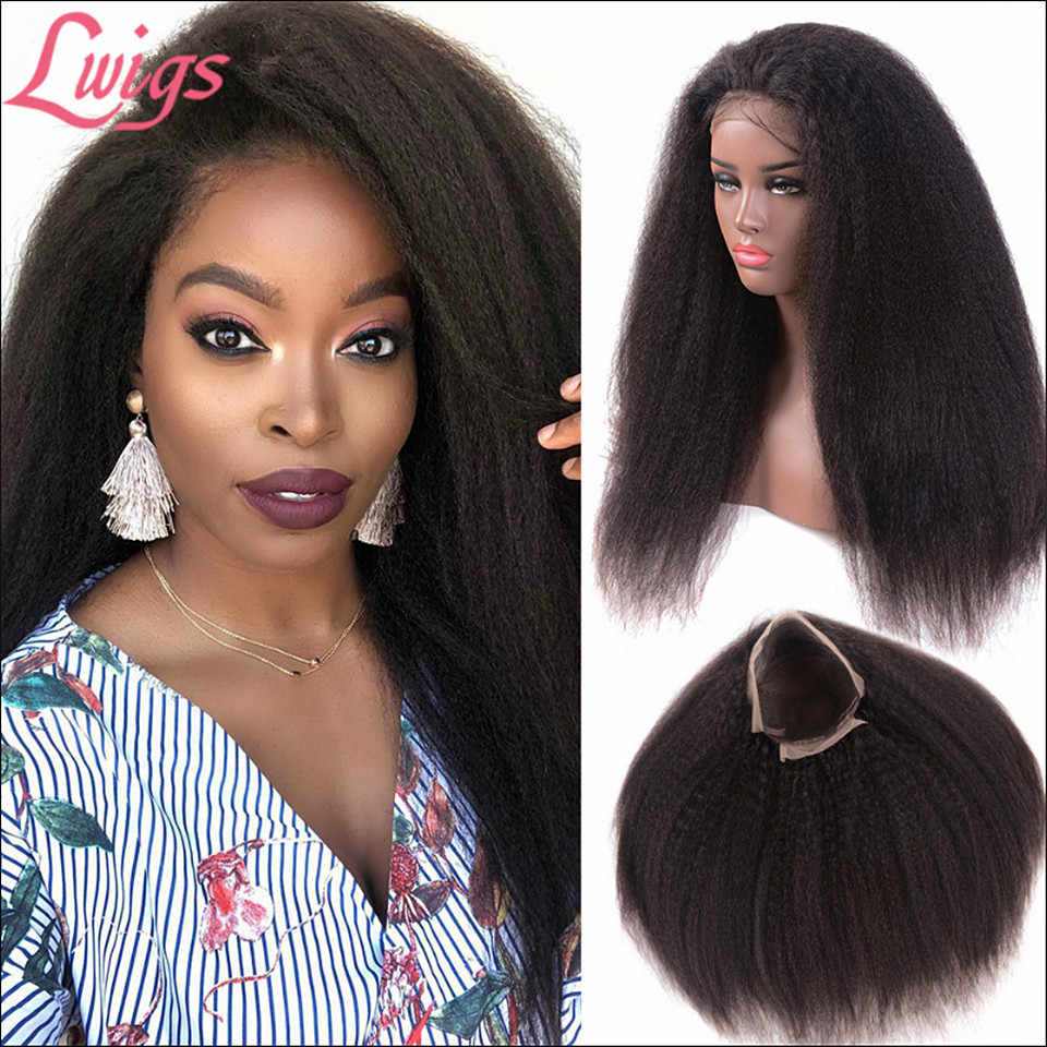 Yaki Straight Lace Front Human Hair Wigs Glueless Kinky Straight 360 Lace Frontal Wig Bleached Knots Remy For Black Women Lwigs