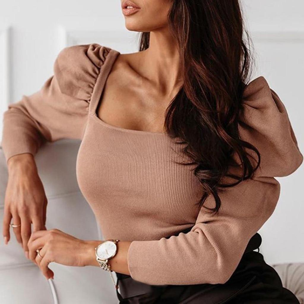 Mode femmes col carré pull longue combinaison manches bouffantes hauts Blouse mince automne hiver haut pour femme roupas Femininas