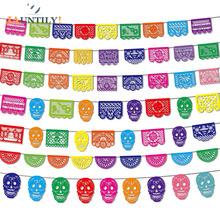 Meksykański motyw karnawałowy kolejka strona dekoracja kwadratowy papel kufel zdobiony filcowy flaga Garland dzień zmarłych sztandar wzór czaszki tanie tanio JAUNTILY Banery M19425 Non-woven fabric Party Other home decoration Day of the Dead