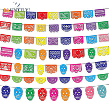 Mexican Theme Carnival Queue Party Decoration Square papel pint Decorated Felt Flag Garland Day of The Dead Banner Skull Pattern