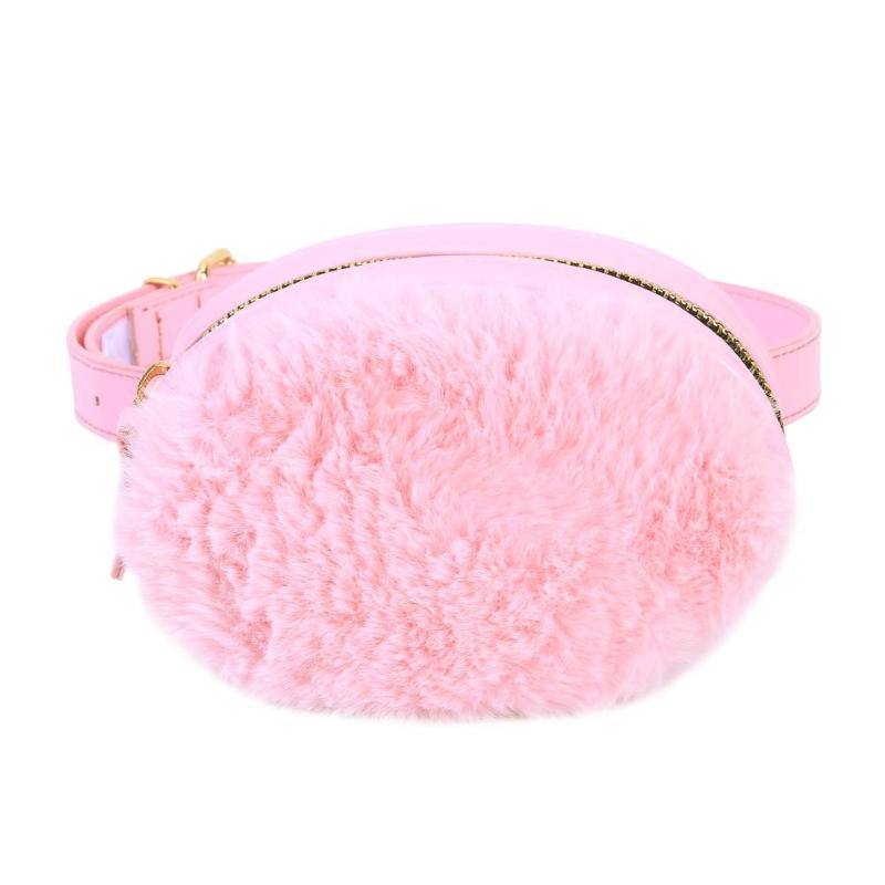Winter Cute Pink Soft Plush Stitching Waist Pack Kids Girl PU Chest Bag Oval Removable Crossbody Shoulder Bags Money Phone Pouch