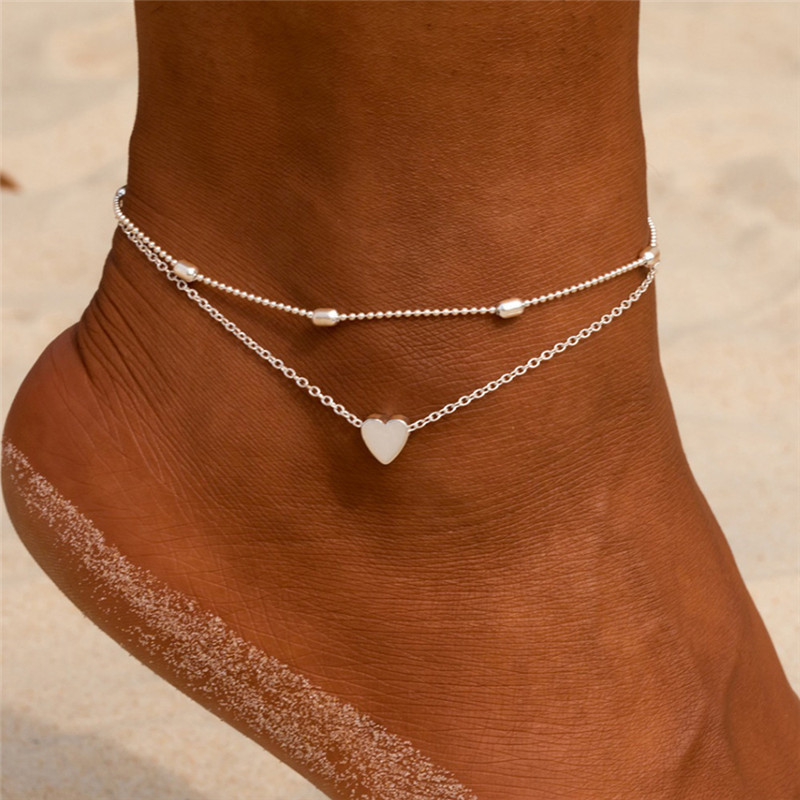 Modyle Female Heart Anklets Barefoot Crochet Sandals Foot Jewelry New Ankle Ankle Foot Anklets Bracelets For Women Leg Chain