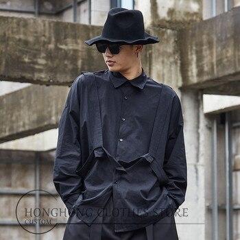S-6XL!Custom dress 2020!  The new versatile top shirt loose shirt fashion dark men's long-sleeved shirt oversize men's wear