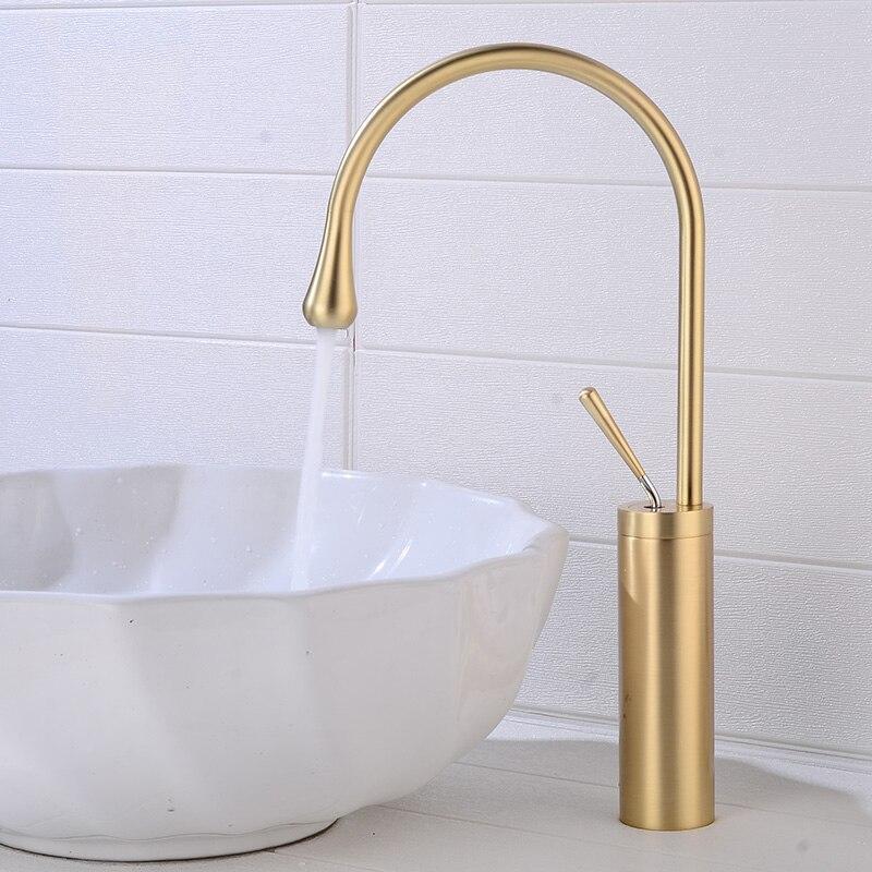 Nuevo grifo de lavabo BAKALA con un solo mango de rotación 360 grifo mezclador para cocina o lavabo de baño mezclador de agua dorado cepillo-in Grifos de lavabo from Mejoras para el hogar on AliExpress - 11.11_Double 11_Singles' Day 1