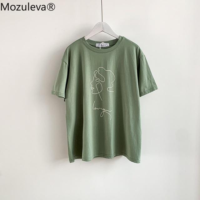 Mozuleva Summer T-shirt 2021 O-neck Abstract Art Printing Tops Short Sleeve Loose Cotton T-shirt Women Chic Girls Harajuku Tees 5