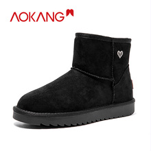 AOKANG 2019 Winter Snow Boots Women Warm Short Plush Ankle Woman Comfortable Brand Luxury Shoes Slip On