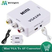 Adaptador do conversor do vga ao av mini com áudio 3.5mm 1080p vga ao conversor do av hd para o computador da tevê hd à tevê
