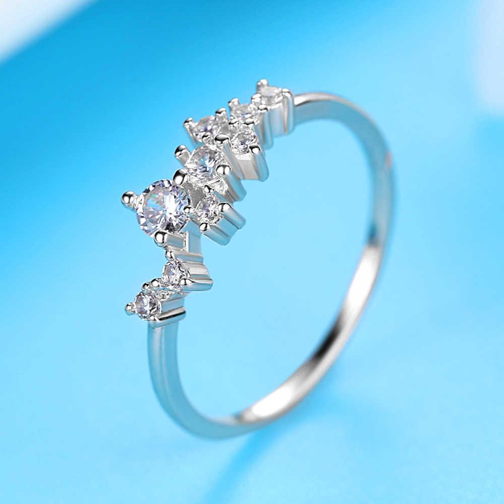 Frauen Ringe Mode-Design Zirkon Ring Fashion Party Hochzeit Geschenk Charme Persönlichkeit Silber Glamorous Damen Schmuck Zubehör