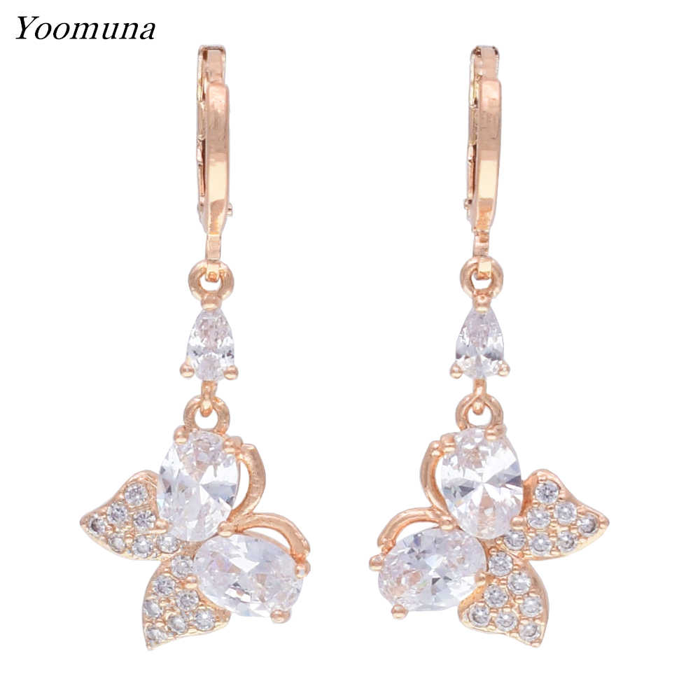 fashion Dangle Earrings Cubic Zircon butterfly drop earrings With Rose Gold Color Earrings for women