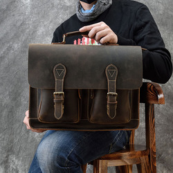 Retro Crazy Horse Leather Man Briefcase Bag Genuine Leather Male 16inch Laptop Business Handbag Cowhide Office Messenger bags