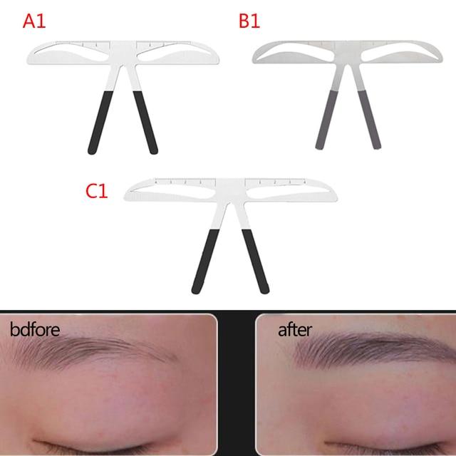 DIY Eyebrow Ruler Makeup Shaping Position Measure Tools Metal Tattoo Shaping Stencil Permanent Makeup Caliper Eyebrow Ruler 5