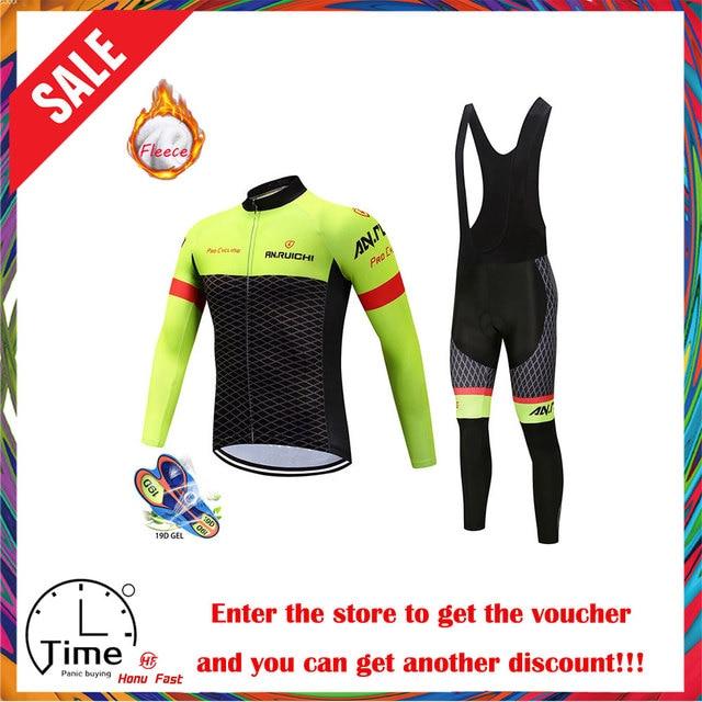 2020 Nieuwe Winter Thermische Fleece Wielertrui Set Ademend Ropa Ciclismo Mannen Lange Mouwen Mtb Fiets Kleding Outdoor Sport Shirt