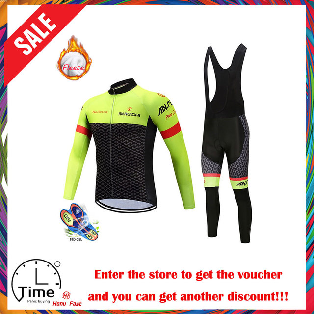 2020 new Winter Thermal Fleece Cycling Jersey Set Breathable Ropa Ciclismo Men Long Sleeve MTB Bike Clothes Outdoor Sports Shirt