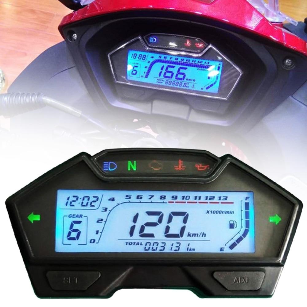 Mayitr 1PC DC 12V Speedo Odo Tacho Meter Gauge MPH Fuel Gear Indicator For Universal Motorcycle 8-22 Inch Wheel