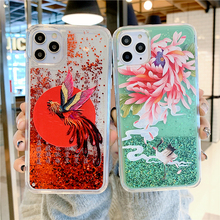 Dynamic Quicksand Liquid Glitter Case For iphone 11Pro MAX SE XS MAX XR X 6 6s 7 8 Plus Chinese Style Phoenix Flower Soft Cover quicksand capinha case for iphone 7 8 6s plus makeup cosmetics dynamic liquid hard back cover for iphone x xr xs max capa ipone