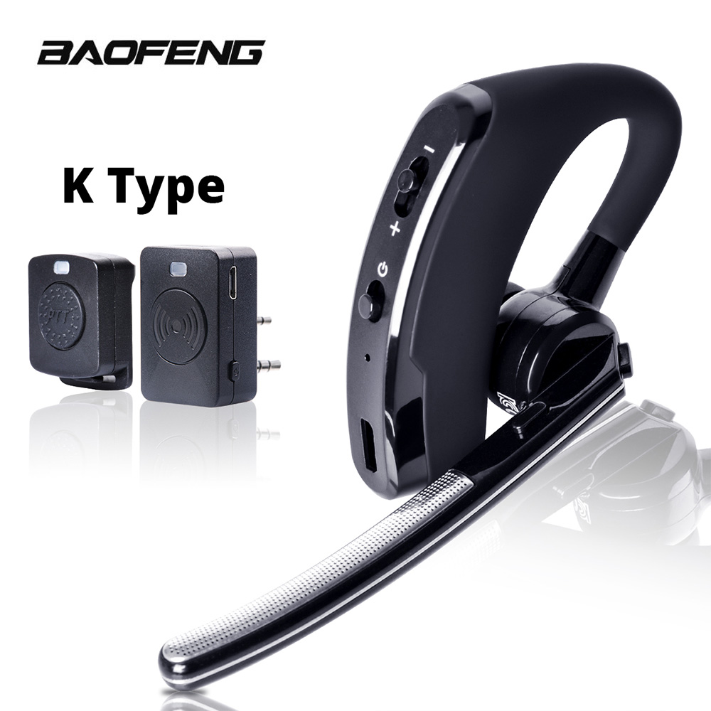 Baofeng Walkie Talkie Headset PTT Wireless Bluetooth Earphone For Two Way Radio K Port Wireless Headphone For UV 5R 82 8W 888s