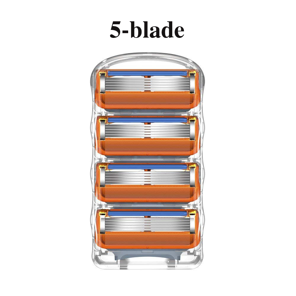 Ally Hight Quality 4pcs 5 Layers Men's Shaving Razor Blades Compatible For Gillettee Fusione Cassette Shaving Two Colors