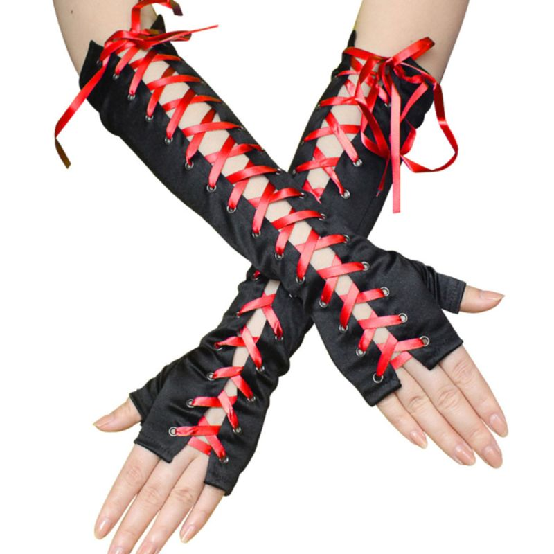 Women Women Sexy Elbow Length Fingerless Long Gloves String Ribbon Criss Cross Lace Up Disco Dance Gothic Style Cosplay Mittens
