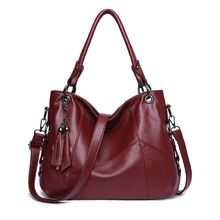 купить Fashion Women Top-handle Bags PU Leather Tassel Shoulder Bag Tote Purse Satchel Crossbody Messenger Handbag дешево
