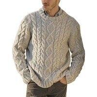 Мужской вязаный классический свитер  1
