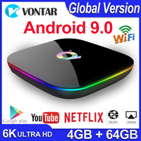 Q Plus Android 9.0 TV Box Smart TV Box 4GB RAM 64GB Allwinner H6 Quad Core 6K H.265 USD3.0 2.4G Wifi Google Play store Youtube