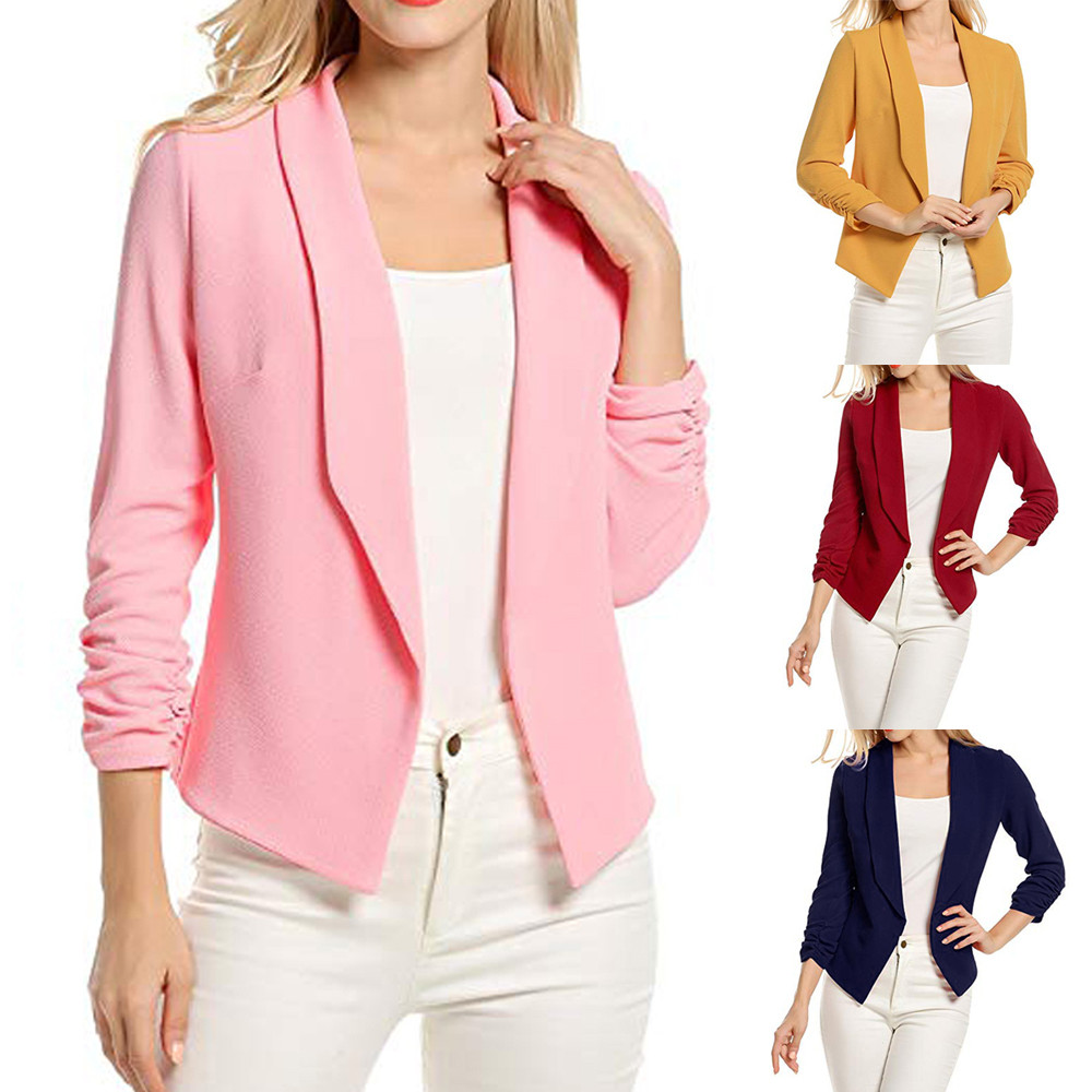 Women Blazers Jackets Open-Front Cardigan-Suit Short Office-Coat Summer 3/4-Sleeve Work