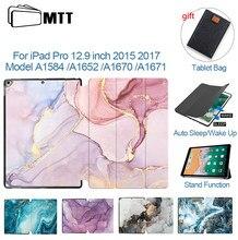 Mtt caso para ipad pro 12.9 2015 2017 1st 2nd gen mármore couro do plutônio suporte da aleta inteligente funda tablet capa a1584 a1652 a1670 a1671