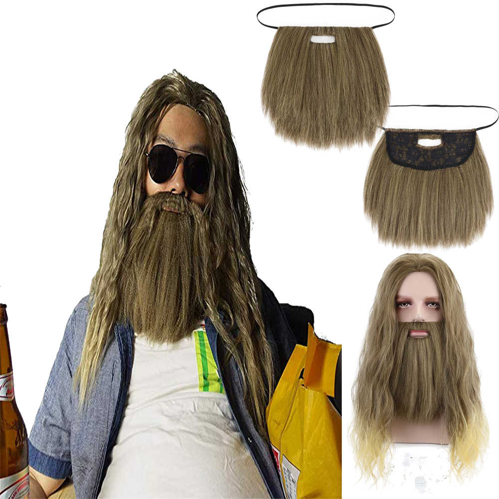 Comic Film Baard Thor Loki Winter Soldier Bruin Lang Golvend Cosplay Synthetisch Haar Pruiken voor Mannen Party Kostuum Halloween
