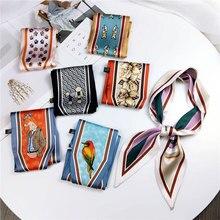 2019 Fashion Kerchief Hair Scarf For Women Headband Floral Print Silk Satin Bag Scarfs Female Ribbon Elegant Head Scarves Ladies