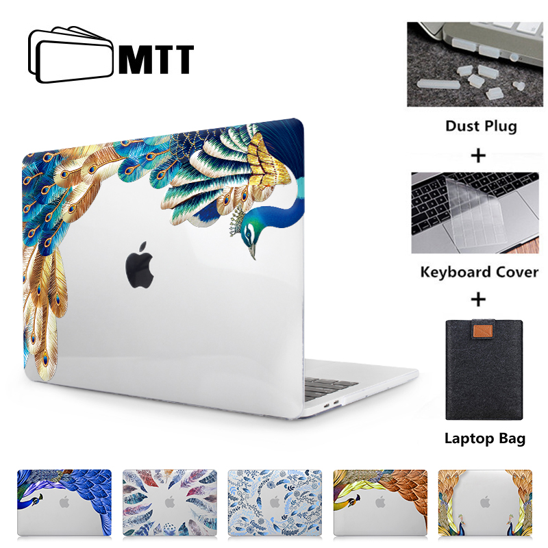 MTT Feather Crystal Case For Macbook Air Pro Retina 11 12 13 15 Inch With Touch Bar Peacock Print Hard Cover 13.3'' Laptop Case