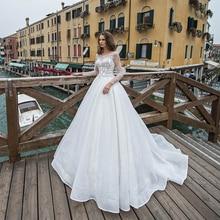 Luxury White Wedding Dress Long Train Backless Illusion Full Sleeves With Sequin Bridal Ball Gowns Vestidos De Novia 2021 Custom
