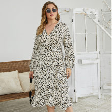 WANYUCL plus size fat mm autunno vita alta gonna a media lunghezza temperamento manica lunga stampa leopardata dritta sottile donna
