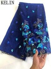 Sıcak satış kadife afrika dantel kumaş yüksek kalite mavi dantel kadife kumaş fransız dantel kumaş elbise için taş ile FLP-1098