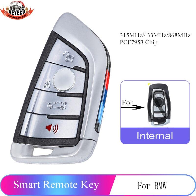 Запасной дистанционный ключ-брелок от машины KEYECU, 4 кнопки, 315/433/868 МГц для BMW 1 2 3 4 5 6 7 серии X1 X3 F, шасси CAS4 + FEM 2011-2017