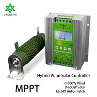 MPPT 1400w Solar Tracker Wind Solar hybrid Charge Controller 12/24V Sun Battery Recharge Regulator for 800W wind+600W solar