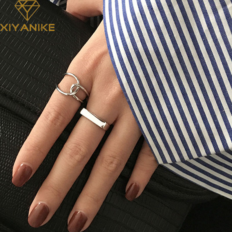 XIYANIKE 925 Sterling Silver Open Rings Creative Simple Geometric Handmade Ring Engagement Jewelry Gifts for Women Couple